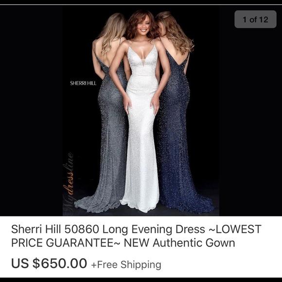 d7c42a8f24 Sherri Hill silver prom wedding dress style 50860.  M 5b8dc18274359b79cbcf70b7